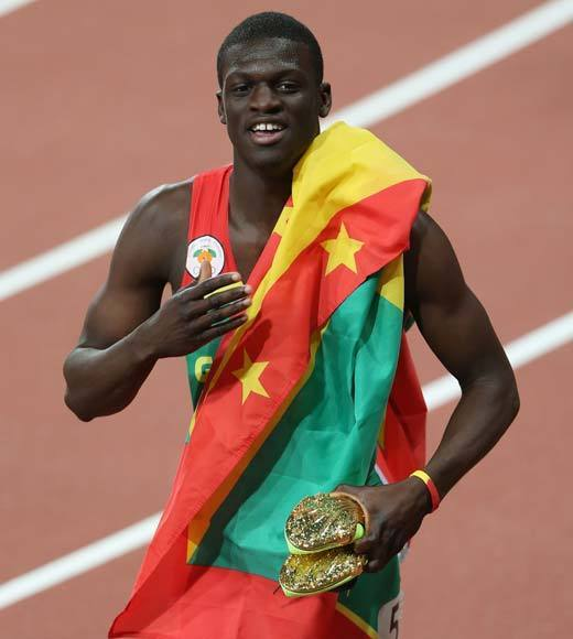 "Kirani James won the men's 400m race Monday (Aug. 6) and earned Grenada's first ever Olympic medal. Well, if you're going to win the first one, might as well make it a gold.<Br><BR>-- <i><a href=""http://twitter.com/andrealeigh203"">Andrea Reiher</a>, <a href=""http://www.zap2it.com"">Zap2it</a></i>"