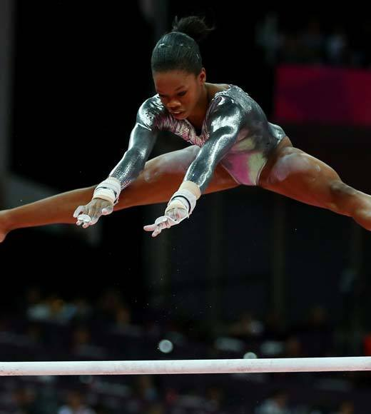 "Gabby Douglas, the gymnastics darling of the 2012 Summer Olympics, competed on her first event final Monday (Aug. 6) when the women took the floor for the uneven bars. Unfortunately, Gabby had a mistake on one rotation and had to add a skill to get facing the right way so she could transition to the low bar. Douglas may not have medaled anyway, however -- the routines put up were incredibly difficult and executed very well. Gabby can next been seen on the balance beam finals Tuesday.<Br><BR>-- <i><a href=""http://twitter.com/andrealeigh203"">Andrea Reiher</a>, <a href=""http://www.zap2it.com"">Zap2it</a></i>"
