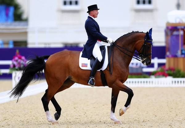 U.S. equestrian Jan Ebeling, riding Rafalca, competes in the Team Dressage Grand Prix Special on Day 11 of the London 2012 Olympic Games at Greenwich Park.