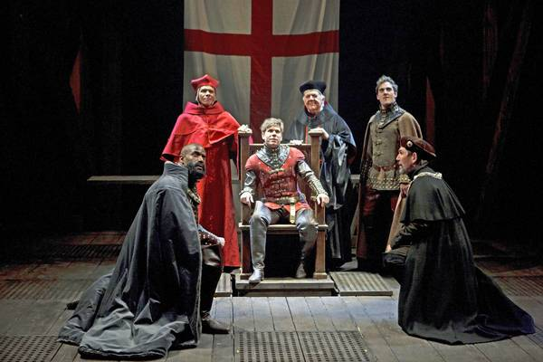 From left: Timothy D. Stickney as Duke of Exeter, David Collins as Bishop of Ely, Aaron Krohn as King Henry V, James Blendick as Archbishop of Canterbury, Tyrone Savage as Duke of Gloucester and Stephen Russell as the Earl of Westmorland in Henry V.