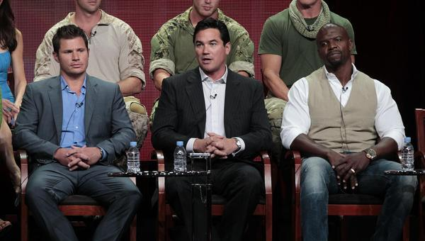 "Cast members Nick Lachey (L), Dean Cain (C) and Terry Crews attend a panel for ""Stars Earn Stripes"" during the NBC television network portion of the Television Critics Association Summer press tour in Beverly Hills, California July 24, 2012."