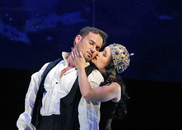 "Mariusz Kwiecien (King Roger) & Erin Morley (Roxana) in ""King Roger"" at Santa Fe Opera."