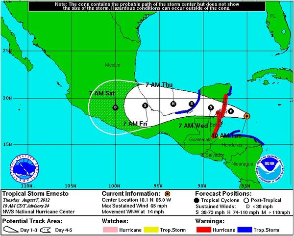 Tropical Storm Ernesto is expected to reach hurricane status by early Wednesday morning.