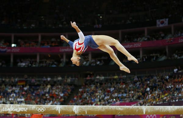 Alexandra Raisman of the U.S. competes in the women's gymnastics balance beam final.