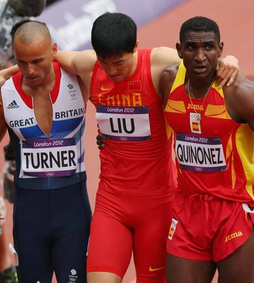 "In a games where we keep hearing about athletes not trying or doping rumors or drunk fans throwing bottles at athletes, it's nice to hear something heartwarming.<BR><BR>When Chinese hurdler Liu Xiang fell and injured his ankle in his 110m hurdles heat, he exited the track, but then returned to try to limp to the finish line. His fellow competitors helped him complete the race and then carried him off the track. <Br><BR>-- <i><a href=""http://twitter.com/andrealeigh203"">Andrea Reiher</a>, <a href=""http://www.zap2it.com"">Zap2it</a></i>"
