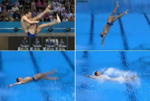 2012 Summer Olympics Best and Worst moments: German diver Stephan Feck had a rather disastrous dive during the mens 3m springboard preliminary round. His foot slipped on the board, he couldnt grasp his left leg on his spins and then he flopped into the water flat on his back. Poor guy.  -- Andrea Reiher, Zap2it