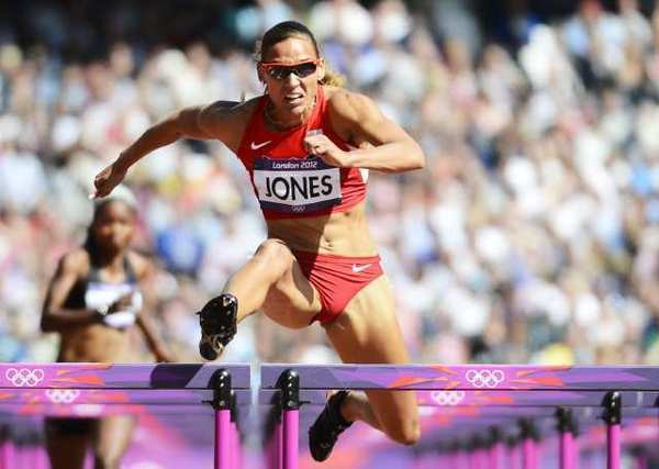 Lolo Jones competes in the 100-meter hurdles.