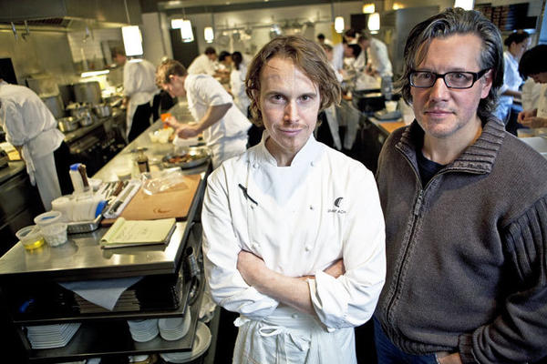 Chef Grant Achatz is shown at Alinea in this 2011 file photo with business partner Nick Kokonas.