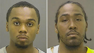 James Pitts, left, and Tyrell Brogden were charged with first-degree murder in the July killing of Charles Johnson in West Baltimore.