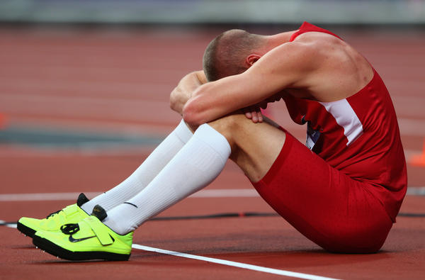 Jesse Williams of the United States reacts after competing in the men's high jump final.