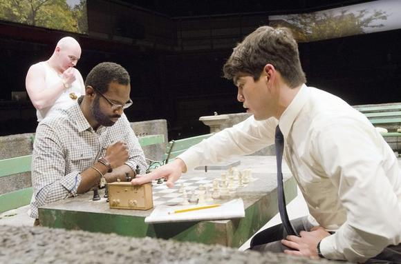 "Rey Reyes (Raúl Castillo) competes with chess hustler Cash (Cedric Mays) in ""Fish Men."""