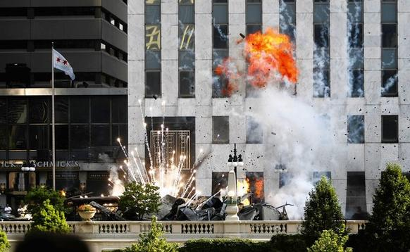 """Transformers 3"" filming continues on Wacker Drive between Wabash and State streets."