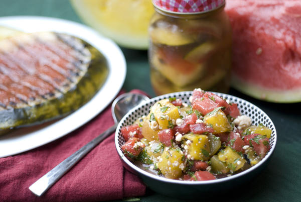 Grilled watermelon salad with mint and queso fresco