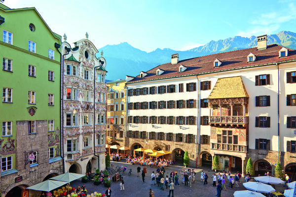 A plaza in Innsbruck, in western Austria.