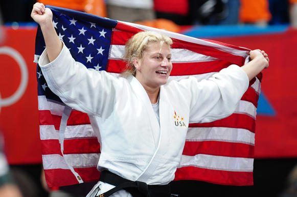 Gold medalist Kayla Harrison of the United States in the Women's -78 kg Judo on Day 6 of the London 2012 Olympic Games at ExCeL in London, England.