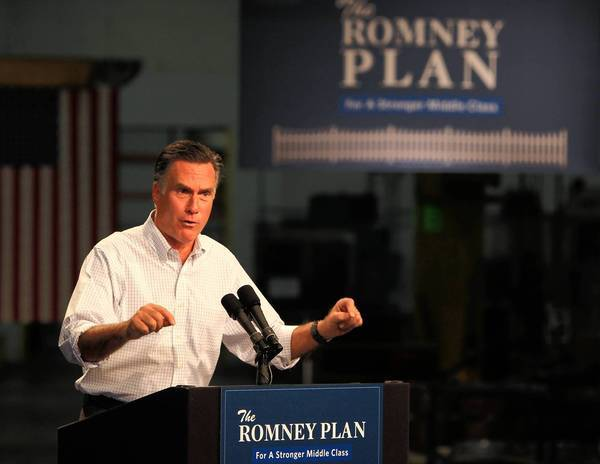 GOP presidential candidate Mitt Romney speaks at Acme Industries in Elk Grove Village, Ill.
