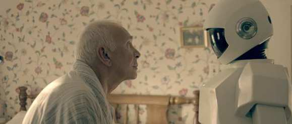 "Frank Langella and his robot costar in Jake Schreier's ""Robot & Frank."""