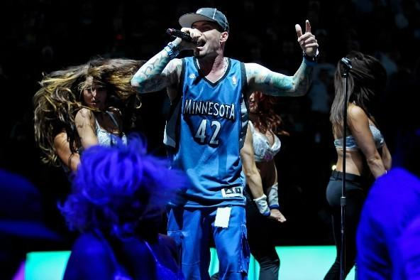 Rapper Vanilla Ice performs during the Boston Celtics-Minnesota Timberwolves game March 30, 2012 at Target Center in Minneapolis, Minnesota.