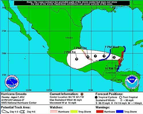 Hurricane Ernesto 11pm Tuesday