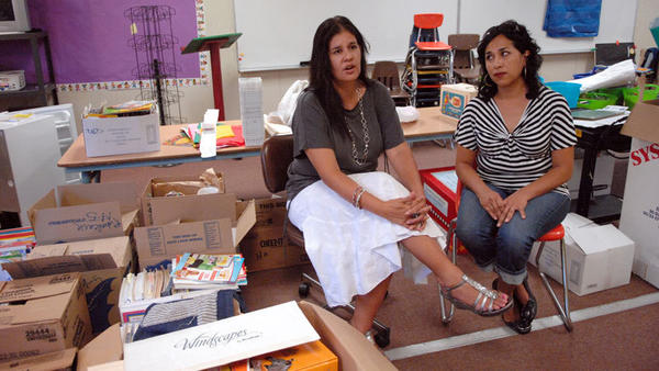 Harding Elementary School Principal Claudia Montaño (left) talks about the transitional kindergartner class as transitional kindergartner teacher Evelyn Rubalcava looks on Tuesday in El Centro.
