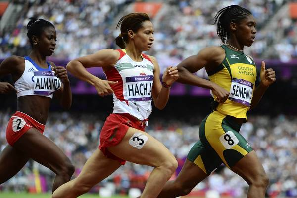 South Africa's Caster Semenya, Morocco's Halima Hachlaf and Cuba's Rose Mary Almanza compete in one of the Women's 800m heats.