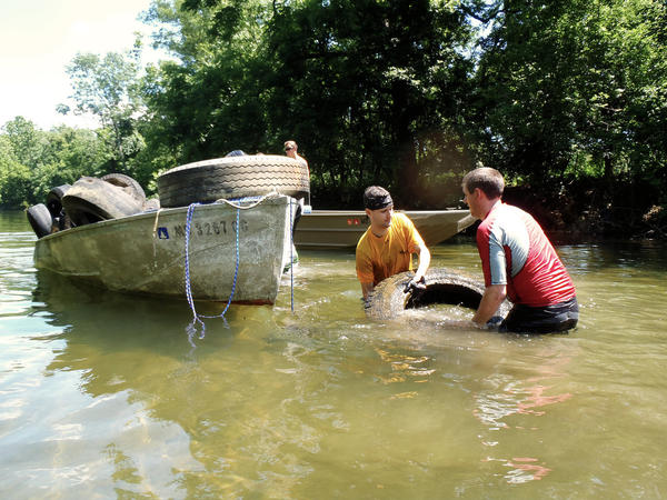 Canoe club members pulled 85 tires from Gunpowder River near White Marsh in June.