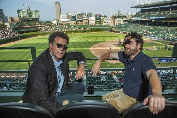 "Will Ferrell and Zack Galifinakis promote ""The Campaign"" at Wrigley Field July 18, 2012."