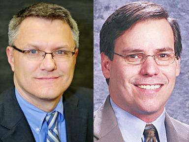 Allen Telgenhof (left) defeats incumbent prosecutor John Jarema.