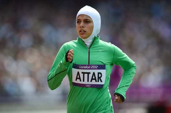 Saudi Arabia's Sarah Attar competes in a women's 800-meters heat.