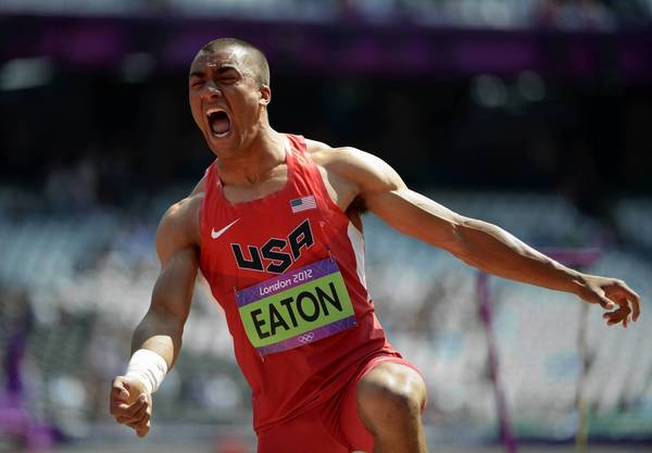 U.S. athlete Ashton Eaton competes in the decathlon shot put at the London 2012 Olympic Games.