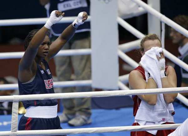 Claressa Shields reacts after her bout against Kazakhstan's Marina Volnova on Wednesday.