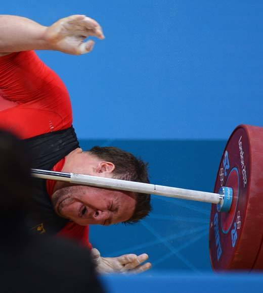 "Defending Olympic weightlifting champion Matthias Steiner of Germany lost his balance trying to lift roughly 430 pounds in the snatch portion of the weightlifting competition. He was forced to withdraw from the games and was taken to the hospital, but thankfully, he was not seriously hurt. That could have been so bad.<Br><BR>-- <i><a href=""http://twitter.com/andrealeigh203"">Andrea Reiher</a>, <a href=""http://www.zap2it.com"">Zap2it</a></i>"