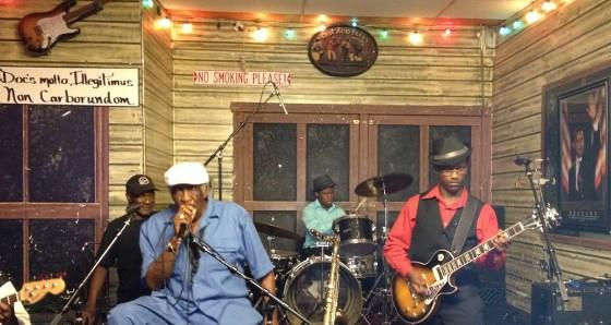 "Robert Martin Walters, drummer, and William ""MoBetta"" Ledbetter, guitarist, play with blues great Eddie Shaw at Kingston Mines in Chicago."