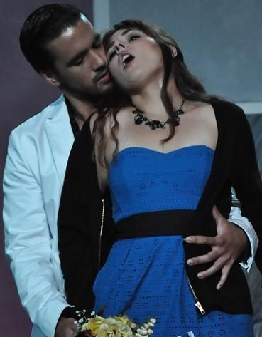 "Don Giovanni (Pablo Siqueros) seduces the young Zerlina (Katie Polit) in the Bay View opera production of ""Don Giovanni."""
