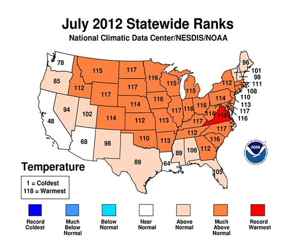 July 2012 was the warmest on record for the continental U.S.