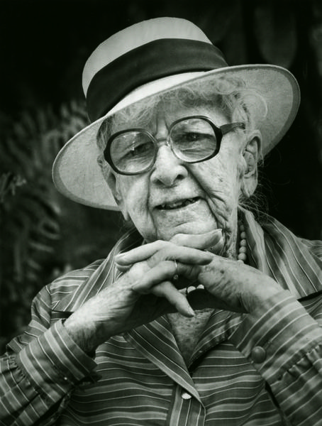 A Jimm Roberts portrait of Marjory Stoneman Douglas, Coconut Grove, 1986, silver gelatin print, collection of the artist