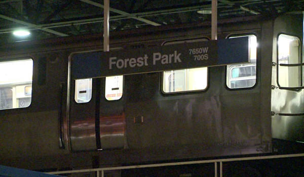 A train waits at the Forest Park Blue Line terminal after a man was fatally injured there Tuesday night.