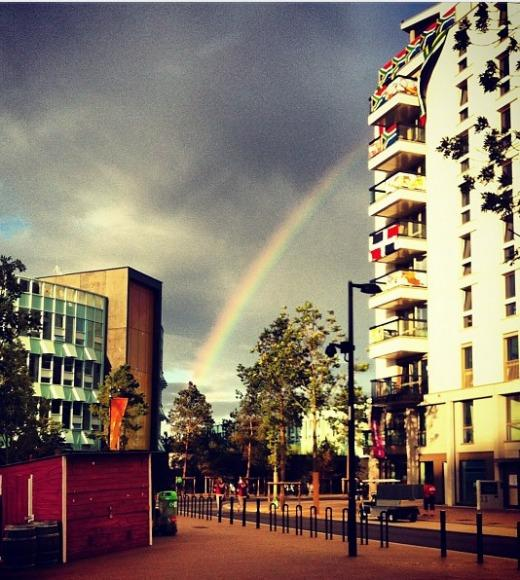 London 2012: Stunning mobile uploads from the Summer Olympics: Rainbow above the USA dorms in the village @ Athletes Village --@mkoroleva