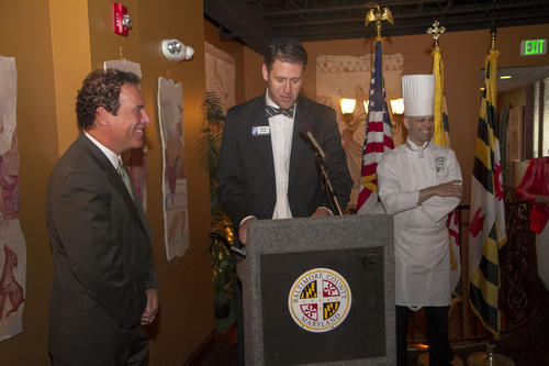 Baltimore County Kevin Kamenetz, Baltimore County Chamber of Commerce President Keith Scott, and Brian Boston, executive chef of Milton Inn in Sparks, were among the many at Cafe Troia in Towson to kick off Baltimore County Restaurant Week.