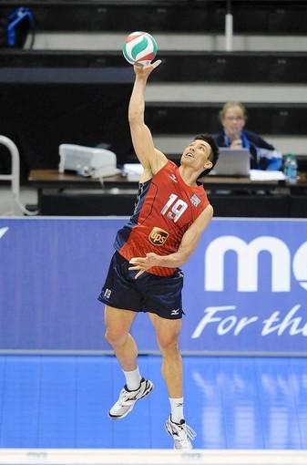 David McKienzie, shown in World League competition last month, served up two aces in Saturday's five-game loss to Russia.