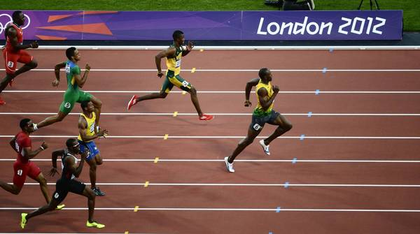 Jamaica's Usain Bolt breaks away from the pack in the Men's 200m semifinals during the London 2012 Olympic Games.