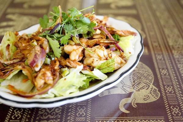 Pla Koong, or spicy shrimp salad, one of the favorites at Thai Pepper in Huntington Beach.