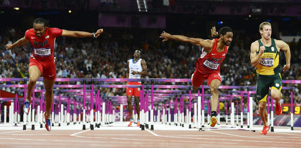 U.S. teammates Aries Merritt, left, and Jason Richardson finished first and second respectively in the men's 110-meter hurdles final at the London 2012 Olympic Games on Wednesday.