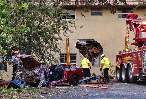 .A man identified by police as Enrique Linares died early Wednesday when the red Honda car he was driving slammed into a nursing home, the Watercrest Care Center, 16650 West Dixie Highway, North Miami Beach. Four occupants of the nursing home suffered injuries that were believed to be minor.
