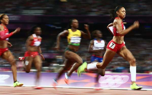 Allyson Felix of the United States leads the field in the women's 200 meters at the London 2012 Olympics. She'd won silver at Beijing and Atlanta in the event.