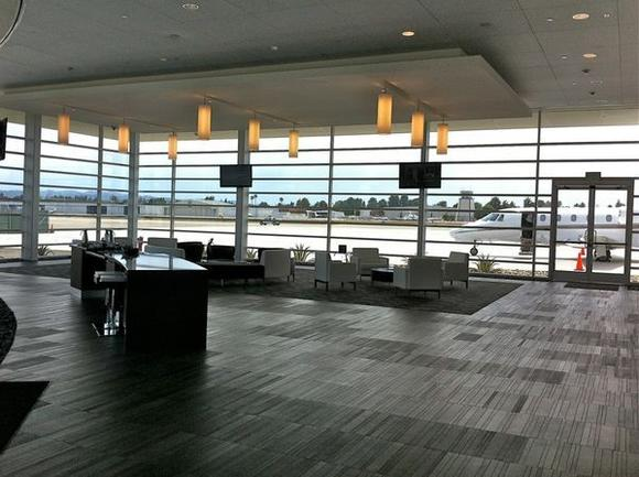 The interior of the NetJets center at Van Nuys Airport.