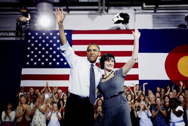 President Obama with Sandra Fluke in Aurora, Colorado