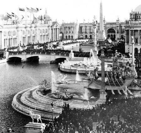 "The center of the Columbian Exposition of 1893 was an architectural wonder known as the Court of Honor. It featured Venice-like waterways and a collection of stately palaces that served as exhibition halls. The buildings were known as the ""White City"" because of the white, stucco exteriors and how the area glowed by street lights at night. The Palace of Fine Arts later became the Museum of Science and Industry."