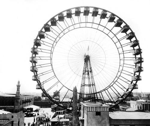 The first Ferris Wheel was built by George W. Ferris for the Columbian Exposition. It stood 250 feet high and had 36 cars that could each carry 40 people.
