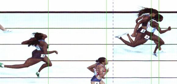The photo finish of the women's 400.  (IAAF photo)